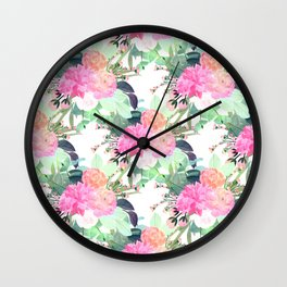 Girly Pink & White Flowers Watercolor Paint Wall Clock