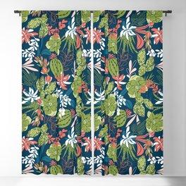 Succulent Garden Navy Blackout Curtain