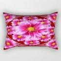 Cinnamon Brown Fuchsia-Pink Dahlias Pattern Abstract by sharlesart
