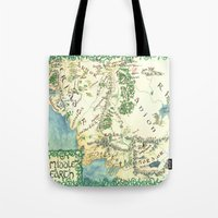 middle earth Tote Bags featuring Middle Earth map by Ioreth