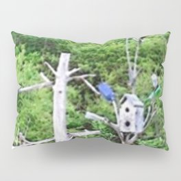 Rural Rustic Knotted Pine Wood Fence Birdhouse Bottle Tree Pillow Sham