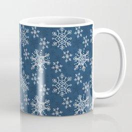 Hand Drawn Snowflakes on Blue Coffee Mug