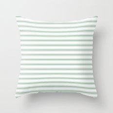Moss Green and White Mattress Ticking Wide Striped Pattern Throw Pillow