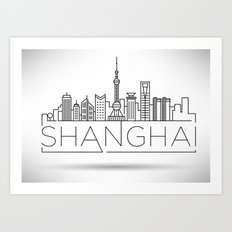 Linear Shanghai Skyline Art Print