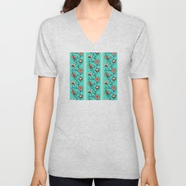 Whimsical Indian floral striped chintz neon teal Unisex V-Neck