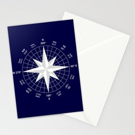 Compass on Navy Blue Stationery Cards