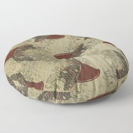 ying and yang shark fin goldfish pattern Floor Pillow