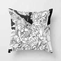 cyberpunk Throw Pillows featuring A Cyberpunk Madonna by Davide Caviglia