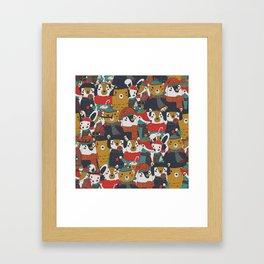 Funky Retro Christmas Animals Framed Art Print