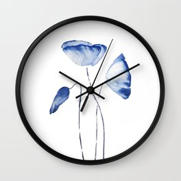 indigo poppy watercolor Wall Clock