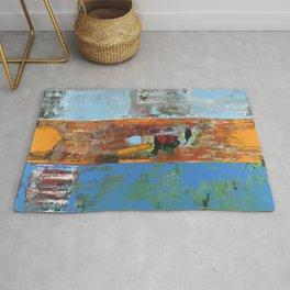 Alligator Blue Orange Modern Abstract Contemporary Art Rug