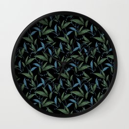 Classy elegant timeless dark floral seamless patter. Botanical theme. Green and blue leaves. Wall Clock