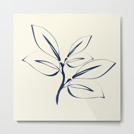 Classic Leaves navy and white Metal Print
