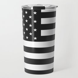 American Flag Stars and Stripes Black White Travel Mug