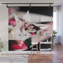 Red and White Crystalline Wall Mural