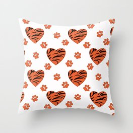 Hearts on a white background. Throw Pillow