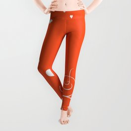 White Valentine Hearts On Red Background Leggings