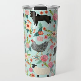 Farm animal sanctuary pig chicken cows horses sheep floral pattern gifts Travel Mug