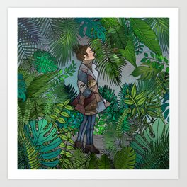 A Winter Walk in a Tropical Greenhouse Art Print