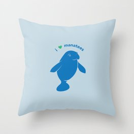 I love Manatees Throw Pillow