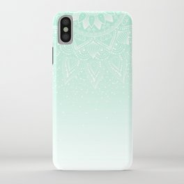 Elegant white and mint mandala confetti design iPhone Case