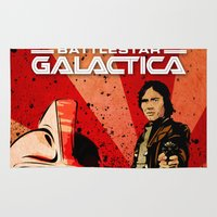 battlestar Area & Throw Rugs featuring Battlestar Galactica by TidalWave Productions