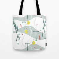 ski Tote Bags featuring Retro Ski by Julie's Fabrics & Thingummies