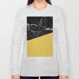 Black Marble and Primrose Yellow Color Long Sleeve T-shirt