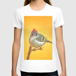 Ruby crowned kinglet caricature painting T-shirt