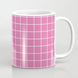 Thulian pink - violet color - White Lines Grid Pattern Coffee Mug