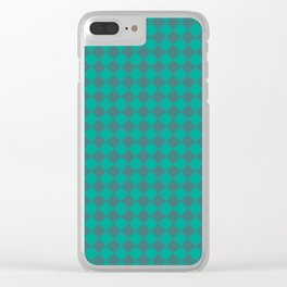 Turq Diamond Checkers Clear iPhone Case
