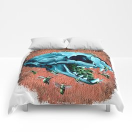 Cat Blue Skull wth Green Bees Comforters