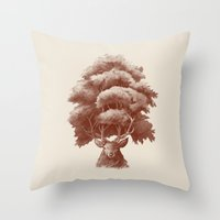thrones Throw Pillows featuring Old Growth  by Terry Fan