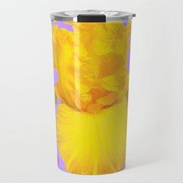 Modern Yellow Iris Purple Patterns Flowers art Travel Mug