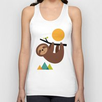 cartoons Tank Tops featuring Keep Calm And Live Slow by Andy Westface