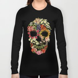 Floral Skull Vintage Black Long Sleeve T-shirt