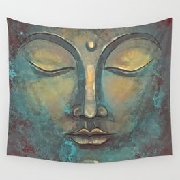 Rusty Golden Copper Buddha Face Watercolor Painting Wall Tapestry