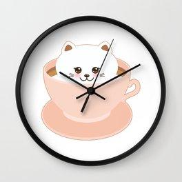 Cute Kawai cat in pink cup Wall Clock