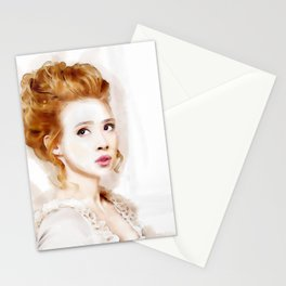 Watercolor of Savannah in Period Outfit and Hair Stationery Cards
