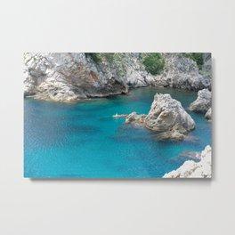 Kayak Floating in Dubrovnik, Croatia Metal Print