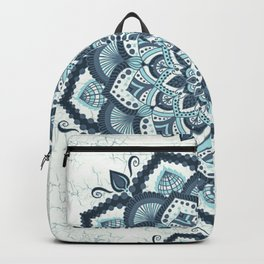 Blue white flower mandala Backpack