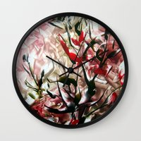 magnolia Wall Clocks featuring Magnolia by ART de Luna