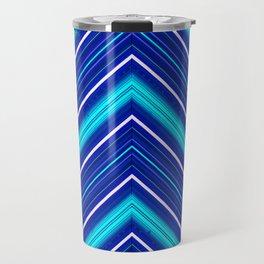 Morn Diagonal Chevron Sripes Shades of Blue Travel Mug