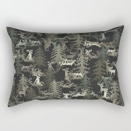 camo sweater with banging deers in the forest Rectangular Pillow