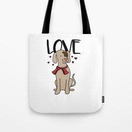 love dog Happy Funny Cute Puppy Doggie Present Tote Bag