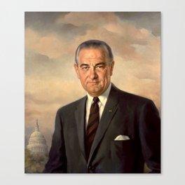 President Lyndon Johnson Painting Canvas Print
