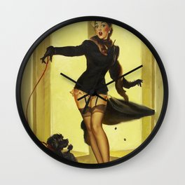 Pin Up Girl and Black Poodle Vintage Art Wall Clock