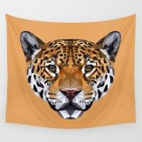 jaguar Wall Tapestries featuring Jaguar by peachandguava