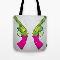 guns Tote Bags featuring Play Guns by kakin