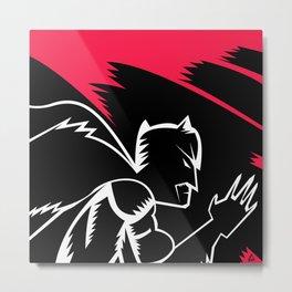 Bat-man Minimalist Black & White  Metal Print